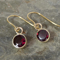 9ct gold Garnet drop earrings ear hooks
