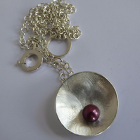 Purple Freshwater pearl pendant silver setting and chain