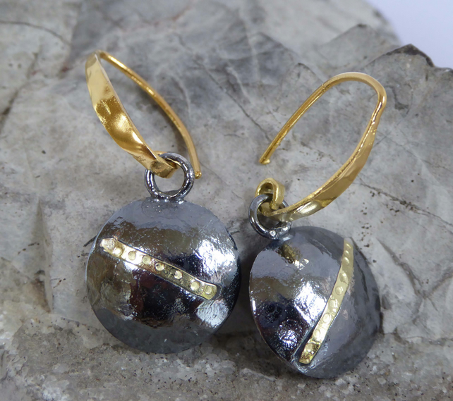 Darkened silver and gold earrings keum boo discs hammered finish dangle and drop