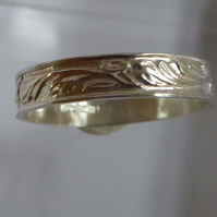 Sterling silver leaf patterned ring size R Free Shipping
