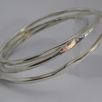 Silver Bangles forged Argentium silver small med large artisan design