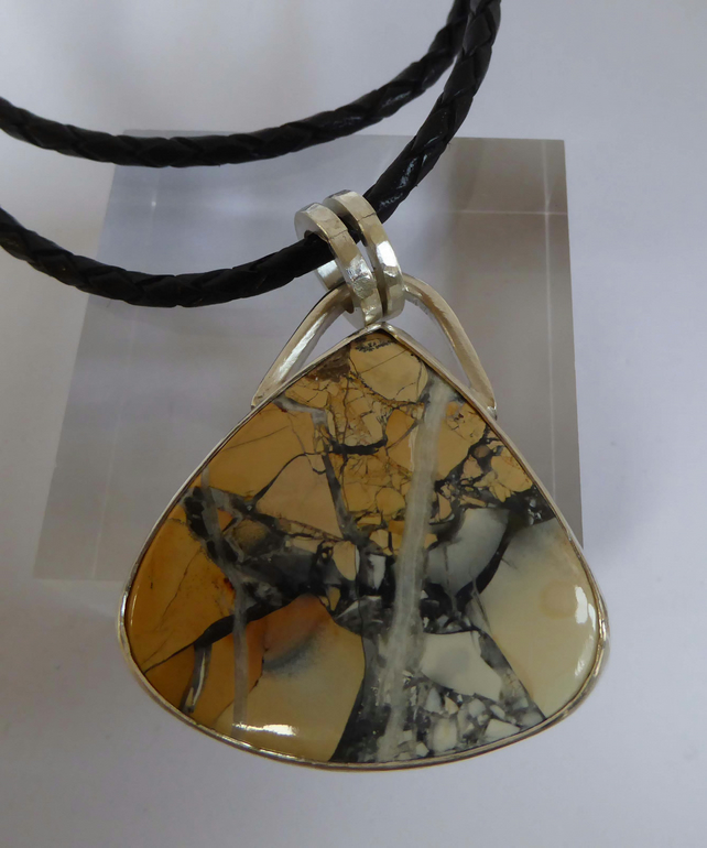 Maligano Jasper set in silver leather thong necklace statement ooak