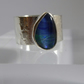 Blue Australian Opal set in silver ring size M ooak artisan ring