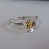 Sterling silver flower ring touch of gold size P  stacking ring Free shipping