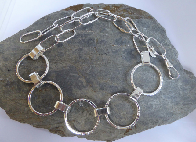 silver necklace of rings long link chain OOAK handmade artisan