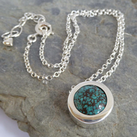 Turquoise silver slider pendant choice of chain length