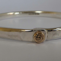 Heavy sterling silver bangle with 14ct gold accent size small id 62mm
