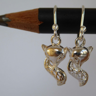 little fox silver earrings charms dangle and drop