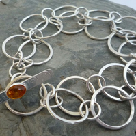 Sterling Silver Rings double row Bracelet  Baltic Amber toggle bar clasp