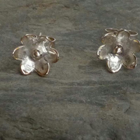 Sterling silver flower post and scroll earrings