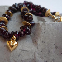 Garnet 24k Gold Vermeil over silver Necklace