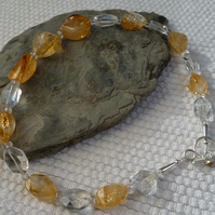 Citrine Nuggets faceted Rock Crystal silver necklace November birthstone