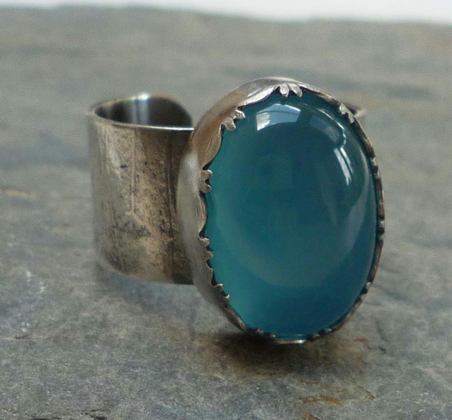 Blue Chalcedony and wide adjustable silver ring ready to ship size O