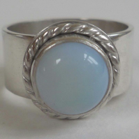 Rainbow Moonstone wide silver ring ready to ship size S