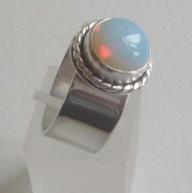 Opalite wide silver ring ready to ship size S