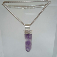 Amethyst crystal point silver pendant and silver snake chain