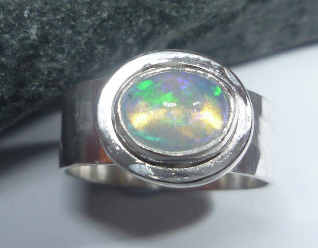 Welo Opal sterling silver wide ring ready to ship size P