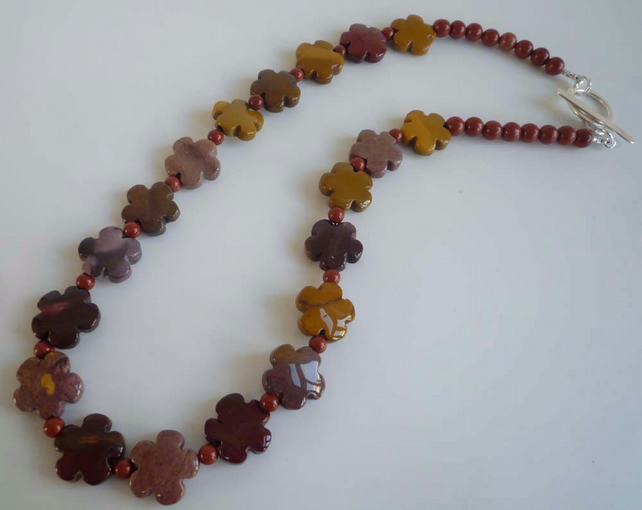 Red Jasper Mookaite flowers and silver toggle clasp necklace