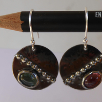Pink and green Tourmaline cabochons on darkened silver disc earrings