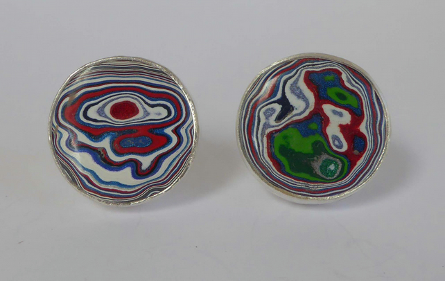 Kenworth Fordite sterling silver cufflinks swivel backs gift boxed