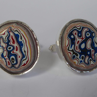 Kenworth Fordite Oval sterling silver cufflinks swivel backs handmade