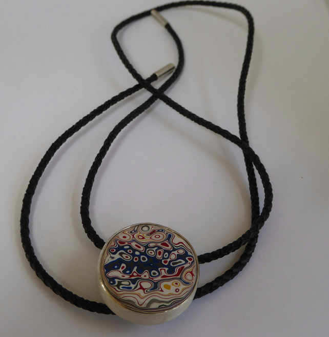 Kenworth Fordite Bolo Tie Plaited cord  with silver ends Hallmarked Gift boxed