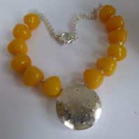 Sterling Silver hollowform and Amber statement necklace OOAK neck adornment
