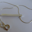 Sterling silver bar pendant silver foxtail chain contemporary Free Shipping