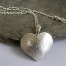 "Sterling silver heart pendant 18"" silver chain hallmarked free shipping"