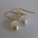 White Freshwater Pearls 9ct gold dangle & drop earrings
