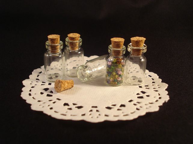 5x Small, Tiny Clear Glass Bottle Vial with Cork 1ml
