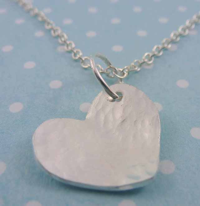 Silver Heart Necklace - Solid Stering 925 Pendant Charm Chain Handmade
