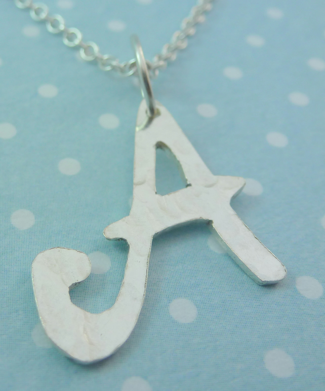 Silver Initial Letter Necklace - Solid Sterling 925 A to Z Personalised Pendant