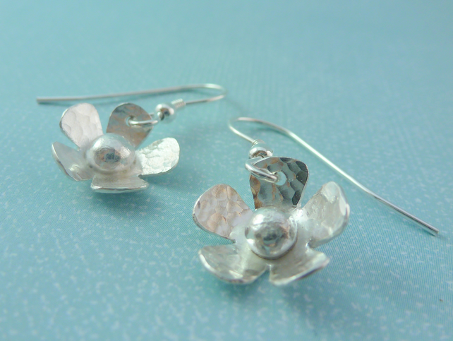 Silver Flower Earrings - Solid Sterling 925 Daisy Flower Ear Wires Handmade