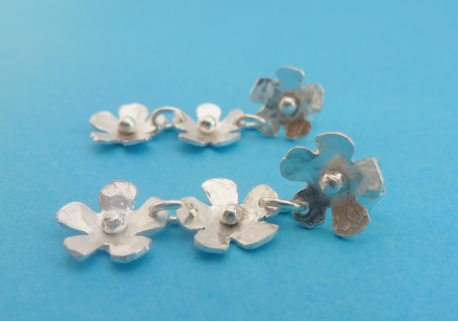 Silver Flower Earrings Solid Sterling 925 Daisy Chain Flower Ear Studs Handmade