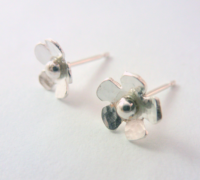 Silver Flower Earrings Solid Sterling 925 Small Daisy Ear Studs Handmade