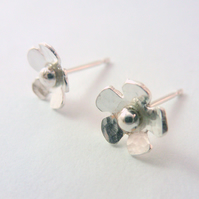 Silver Flower Earrings - Solid Sterling 925 Small Daisy Ear Studs Handmade
