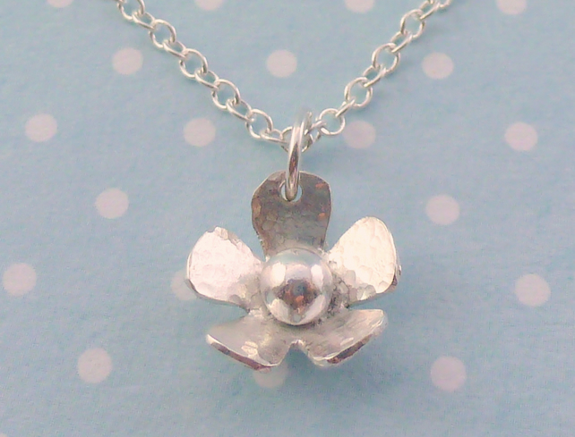 Silver Flower Necklace - Solid Sterling 925 Daisy Pendant Charm Handmade Gift
