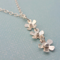 Silver Flower Necklace - 925 Solid Sterling Daisy Chain Flower Pendant Handmade