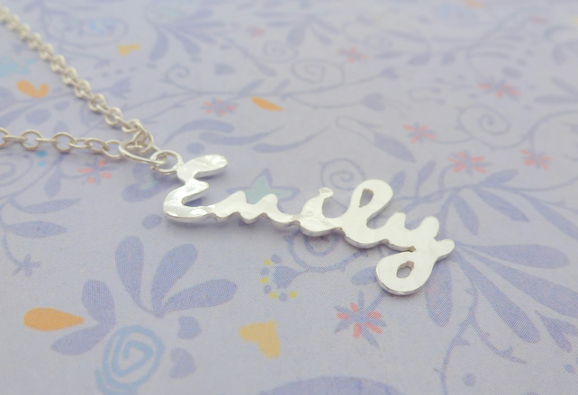 Silver Name Necklace - Handmade Personalised Custom Word Pendant Up To 5 Letters