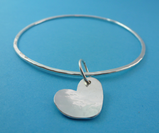 Silver Heart Bangle - Sterling Solid 925 Charm Flat Hammered Bangle Bracelet