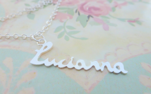 Sterling Silver Name Necklace - 6 - 10 Letters Personalised Custom Word Pendant