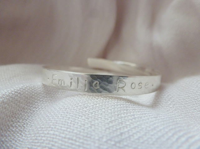 Personalised Christening Bracelet - Solid Sterling 925 Child Baby Bangle Bespoke