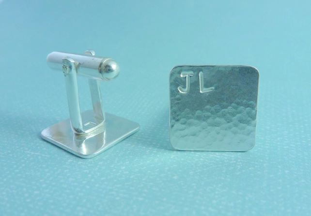 Mens Personalised Cuff Links - Gents Square Sterling Silver 925 Cufflinks Pair