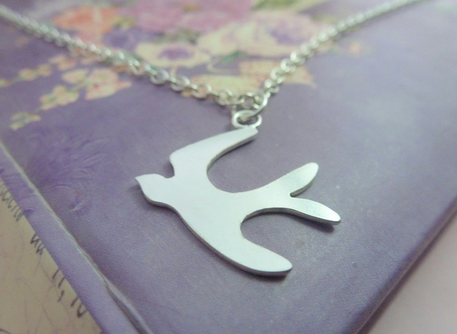 Silver Swallow Necklace - Solid Sterling 925 Bird Pendant Charm Handmade