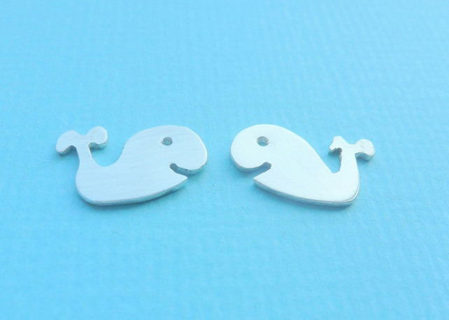 Silver Whale Earrings - Solid Sterling 925 Small Fish Animal Ear Studs Handmade