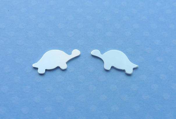 Silver Turtle Earrings - Solid Sterling 925 Small Tortoise Animal Ear Studs