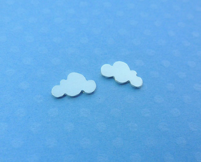 Silver Cloud Earrings - Tiny Solid Sterling 925 Cloud Small Ear Studs Handmade