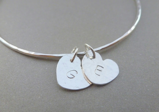 Personalised Silver Heart Charm Bangle 925 Solid Sterling Name Initial Bracelet