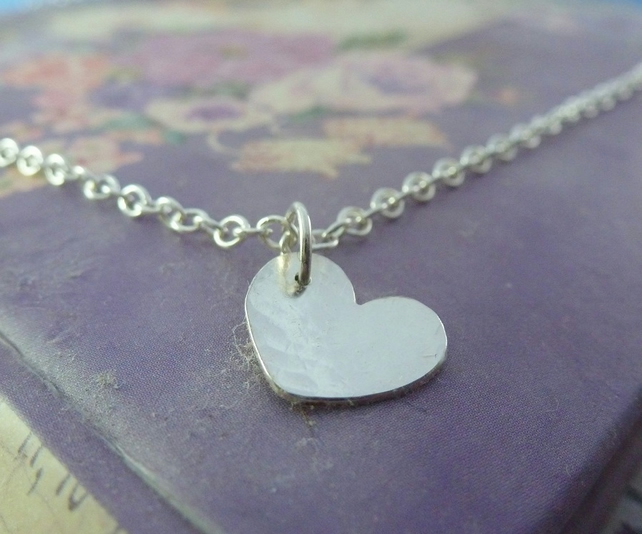 Silver Heart Necklace - Solid Sterling 925 Heart Pendant Charm Chain Handmade